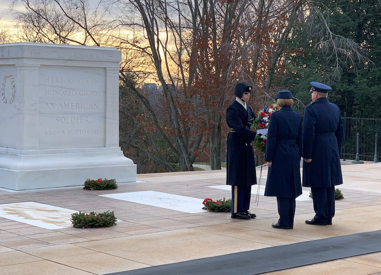 Air Force Office of Special Investigations Commander Brig. Gen. Terry L. Bullard and Command Chief Master Sgt. Karen F. Beirne-Flint present the AFOSI wreath to a member of the 3rd U.S. Infantry Regiment (The Old Guard) for placement at the Tomb of the Unknown Soldier at Arlington National Cemetery, Va., Jan. 7, 2020. (Photo by SA Spencer King)
