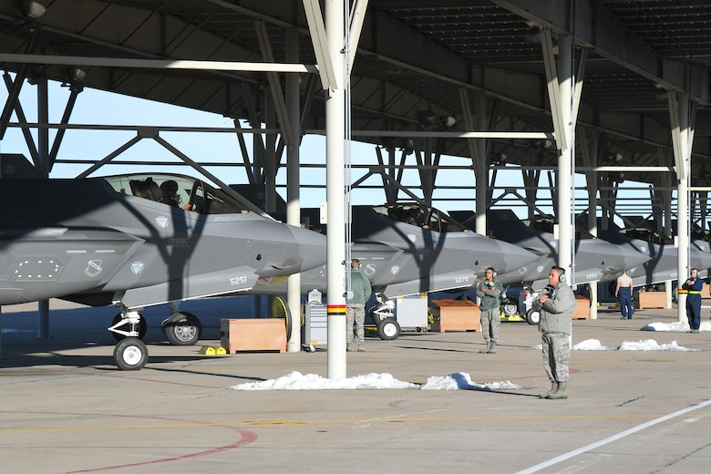 F-35 Lightning IIs assigned to Hill Air Force Base, Utah, prepare to taxi during a combat power exercise