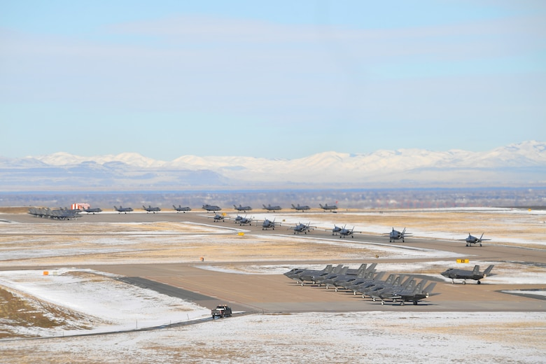 F-35 Lightning II fighter jets at Hill Air Force Base, Utah, prepare for takeoff during a combat power exercise