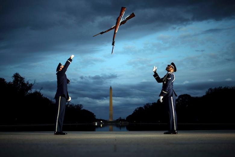 Members of the U.S. Air Force Honor Guard conduct training