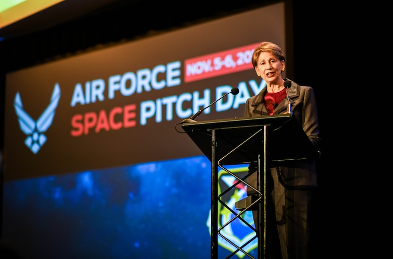 Secretary of the Air Force Barbara M. Barrett speaks at Air Force Space Pitch Day