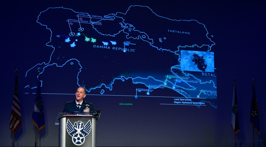 CSAF delivers a State of the Air Force speech during AFA