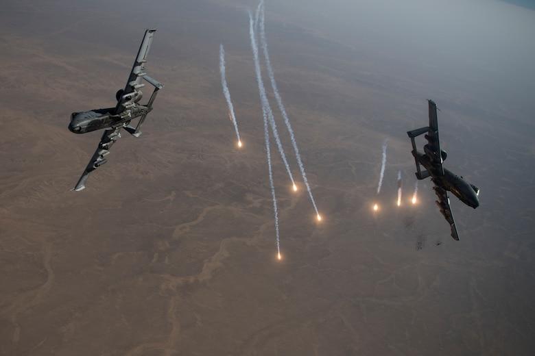 A-10 Thunderbolt II aircraft conduct a combat air patrol mission