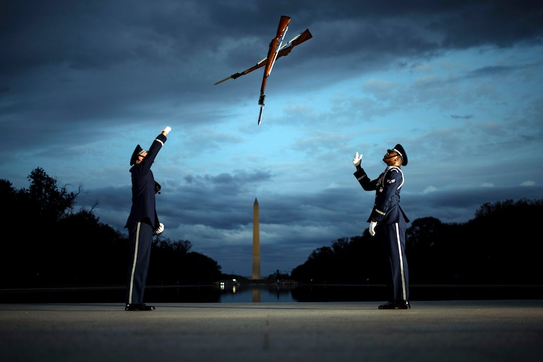 Members of the U.S. Air Force Honor Guard conduct training