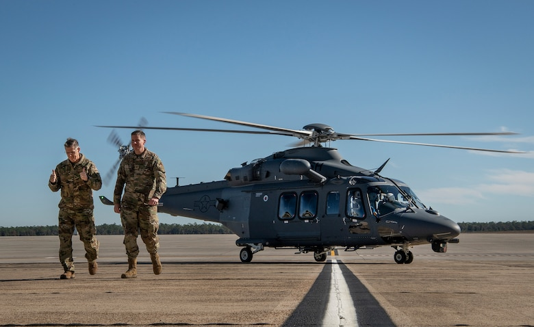 Commander of Air Force Global Strike Command disembarking his first ride in the MH-139A Grey Wolf