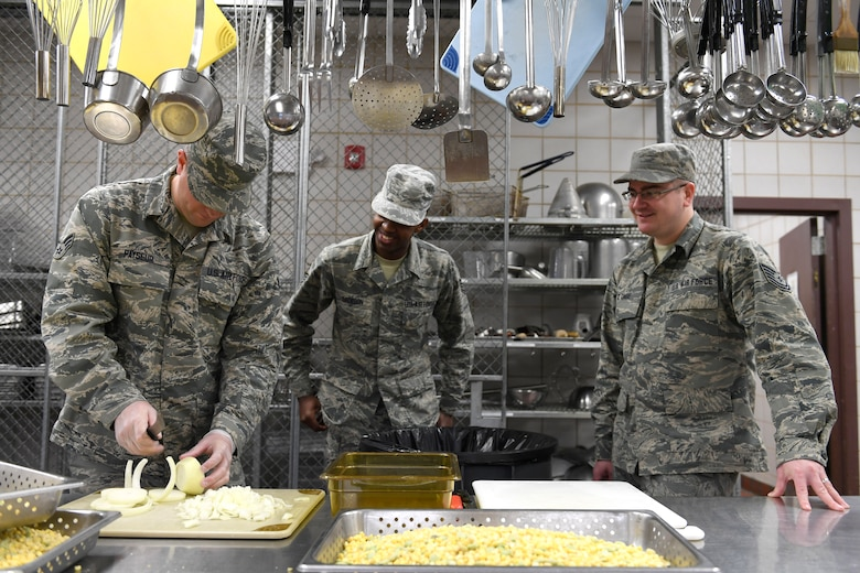 Members ANG and ARS prepare lunch during drill weekend
