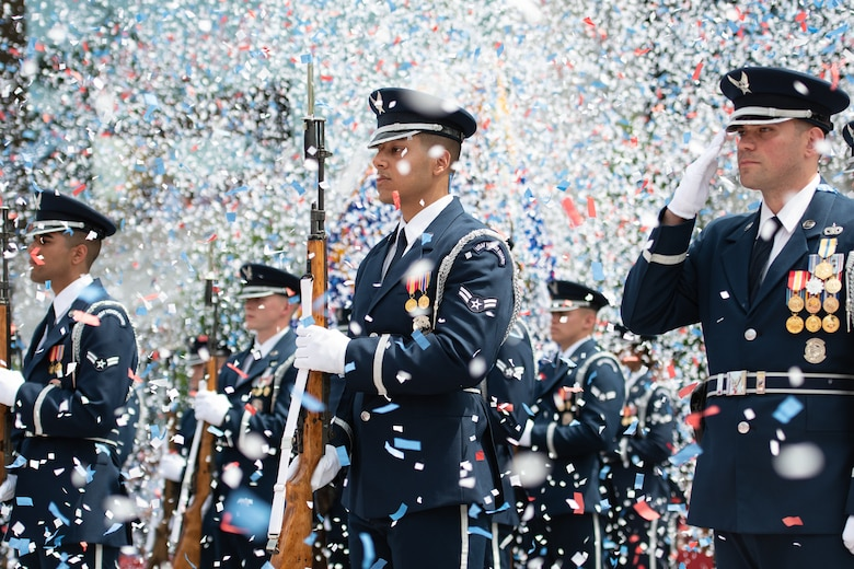 U.S. Air Force Honor Guard Drill Team during the playing of The Star-Spangled Banner