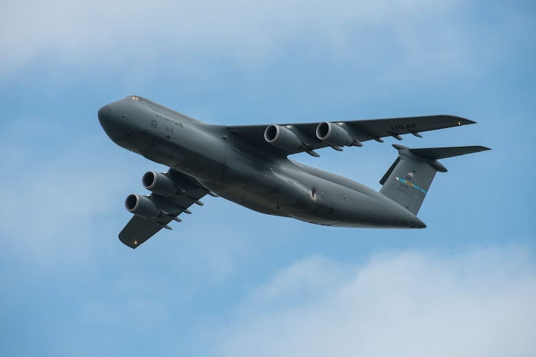 A C-5M Super Galaxy flies over the 2019 Thunder Over Dover Air Show