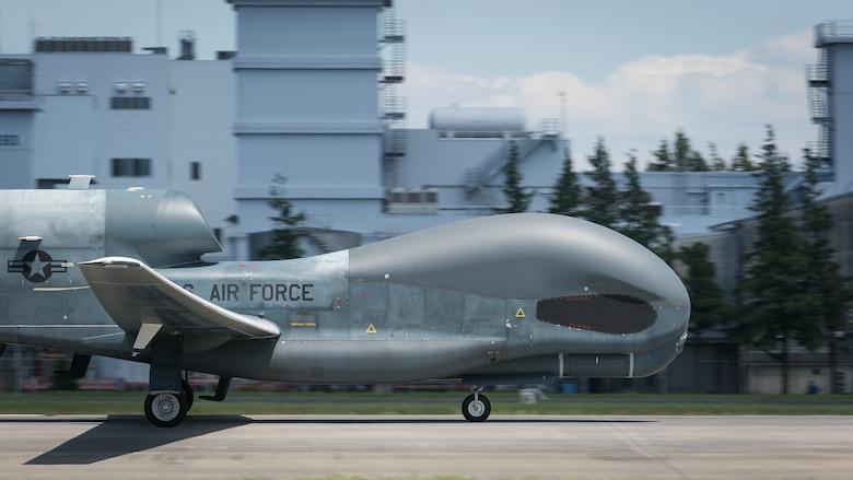 An RQ-4 Global Hawk remotely-piloted surveillance aircraft