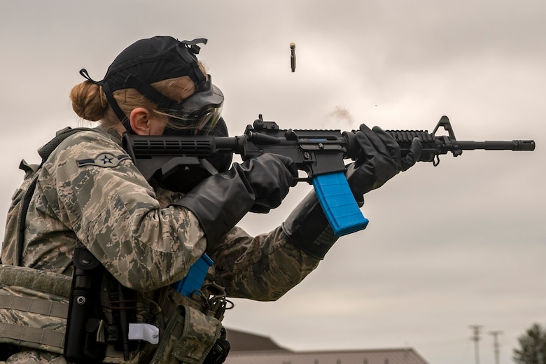 A Security Forces Airman participate in quarterly weapons training