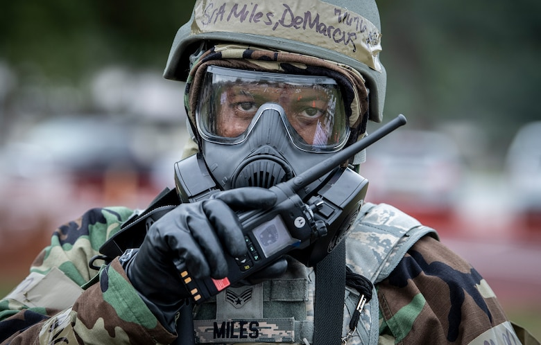 Senior Airman during a chemical, biological, radiological, nuclear and explosive exercise