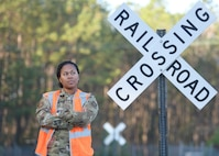 Staff Sgt. Gelisa Inniss, 628th Logistics Readiness Squadron NCO in charge of ground transportation operations center, Naval Weapons Station, poses for a photo Joint Base Charleston NWS in Goose Creek, S.C., Jan. 7, 2020. Innis was the first female active duty Airman to complete the Brakeman Switchman Course at Joint Base Langley-Eustis, Virginia. (U.S. Air Force photo by Senior Airman Joshua R. Maund)