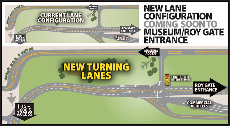 A graphical depiction of construction adjacent to the Hill Aerospace Museum at Hill Air Force Base, Utah, that will result in new inbound and outbound turning lanes and a traffic signal.