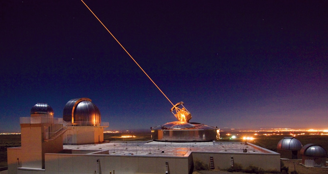 The Sodium Guidestar at the Air Force Research Laboratory Directed Energy Directorate's Starfire Optical Range. Researchers with AFRL use the Guidestar laser for real-time, high-fidelity tracking and imaging of satellites too faint for conventional adaptive optical imaging systems. The SOR's world-class adaptive optics telescope is the second largest telescope in the Department of Defense.