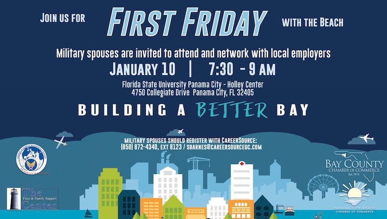 Organizations affiliated with Tyndall Air Force Base partnered with the Bay County Chamber of Commerce and the Panama City Beach Chamber of Commerce to host a First Friday event held at Florida State University Holley Center, Panama City, Florida, Jan. 10, 2020. (Courtesy graphic)