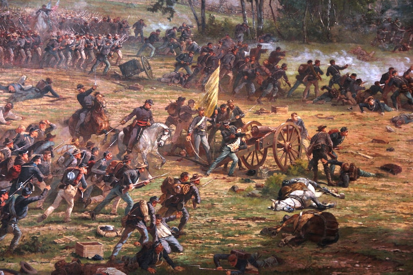 A painting depicts hundreds of Civil War soldiers fighting on a battlefield.