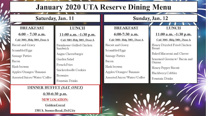 Reserve dining menu for January 2020 UTA