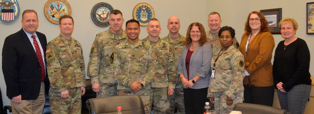 Leaders from the DLA Troop Support Medical supply chain leaders and Army Medical Logistics Command pose for a photo during a visit at DLA Troop Support Jan. 7, 2020 in Philadelphia.
