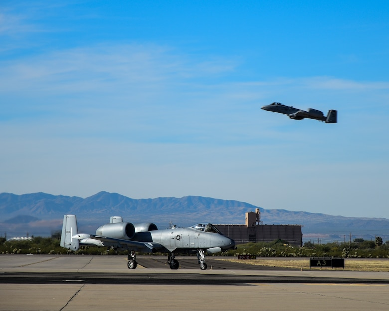 A-10 taxis down flight line