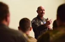 General Mike Holmes speaks to a crowd at Creech Air Force Base.