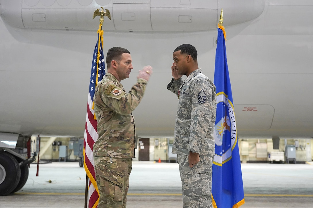 Air Force Master Sgt. Jehu Forte, assigned to the 703rd Aircraft Maintenance Squadron, is awarded the Bronze Star Medal for meritorious service.