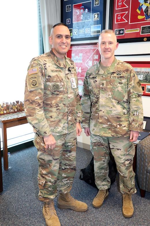 USACE Command Sergeant Major Bradley Houston (right) visits with Transatlantic Division Command Sergeant Major Randolph Delapena at TAD's Headquarters in Winchester, Va., Jan. 7, 2020.