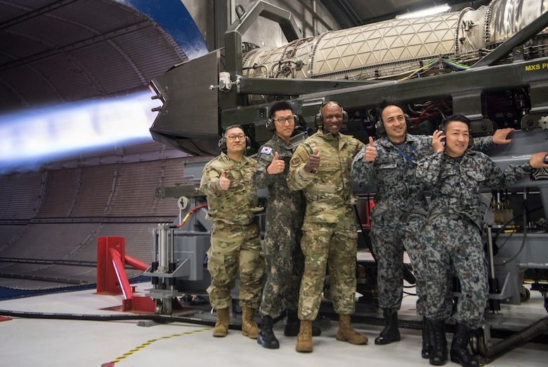 CMSAF, chief master sergeant of the Republic of Korea, and  other senior enlisted leaders during an F-22 Raptor jet engine test