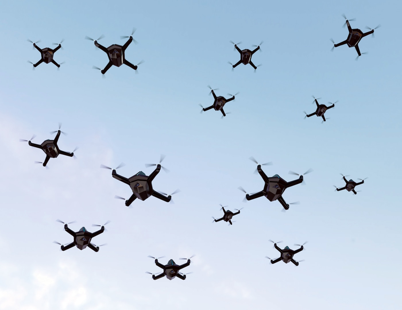 Swarm of security drones with surveillance camera flying in the sky. 3D rendering image.