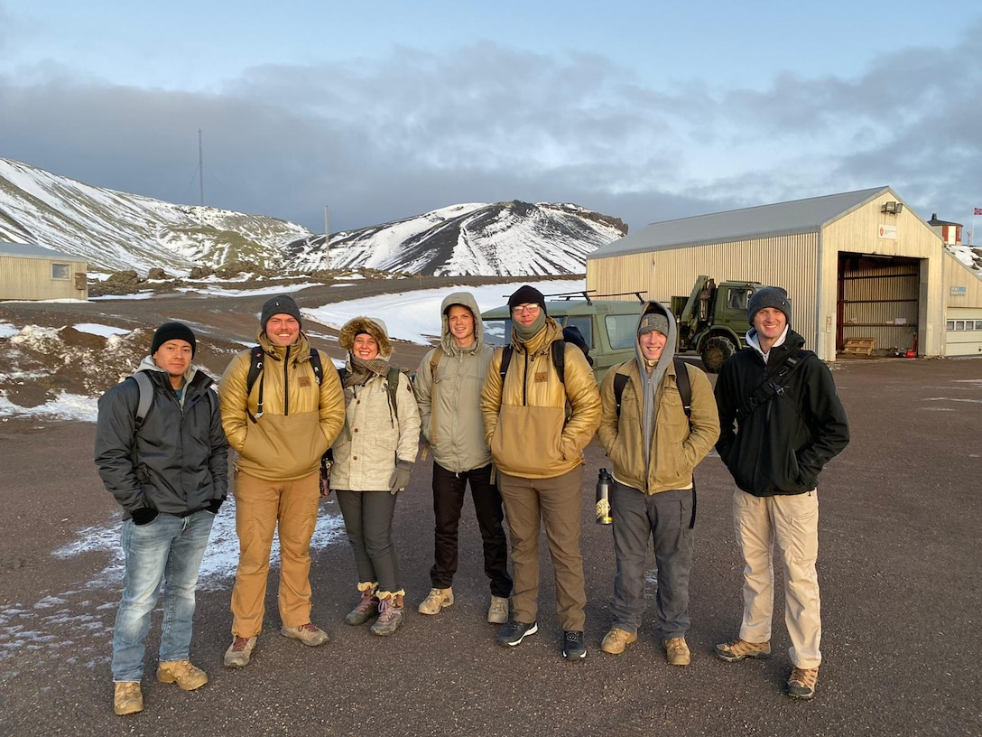 Members of the 435th Contingency Response Squadron pose for a photo during a runway assessment trip at Jan Mayen Airfield, Norway, Nov. 19, 2019. The 435th CRS conducted a landing zone survey and assessment so U.S. Air Force aircraft can provide transport and resupply to nearby stations.