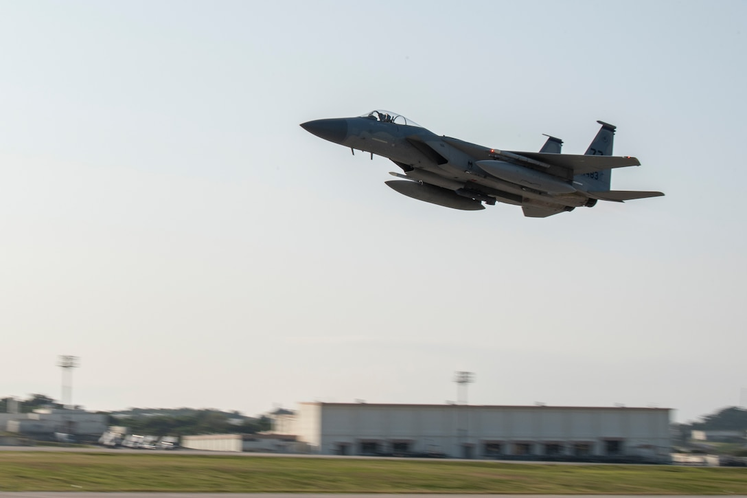 A U.S. Air Force F-15C Eagle from the 44th Fighter Squadron takes off during Exercise WestPac Rumrunner Jan. 10, 2020, at Kadena Air Base, Japan. Westpac Rumrunner represents an evolution of 18th Wing assets and capability to work with joint partners in defense of American allies and to ensure a free and open Indo-Pacific. (U.S. Air Force photo by Airman 1st Class Mandy Foster)