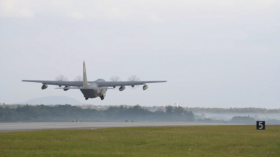 A U.S. Air Force MC-130J Commando II from the 17th Special Operations Squadron takes off during Exercise WestPac Rumrunner Jan. 10, 2020, at Kadena Air Base, Japan. The 18th Wing, the largest combat wing in the U.S. Air Force, stands ready to cooperate with the regional partners to enhance readiness and lethality for our allies. (U.S. Air Force Photo by Airman 1st Class Rebeckah Medeiros)