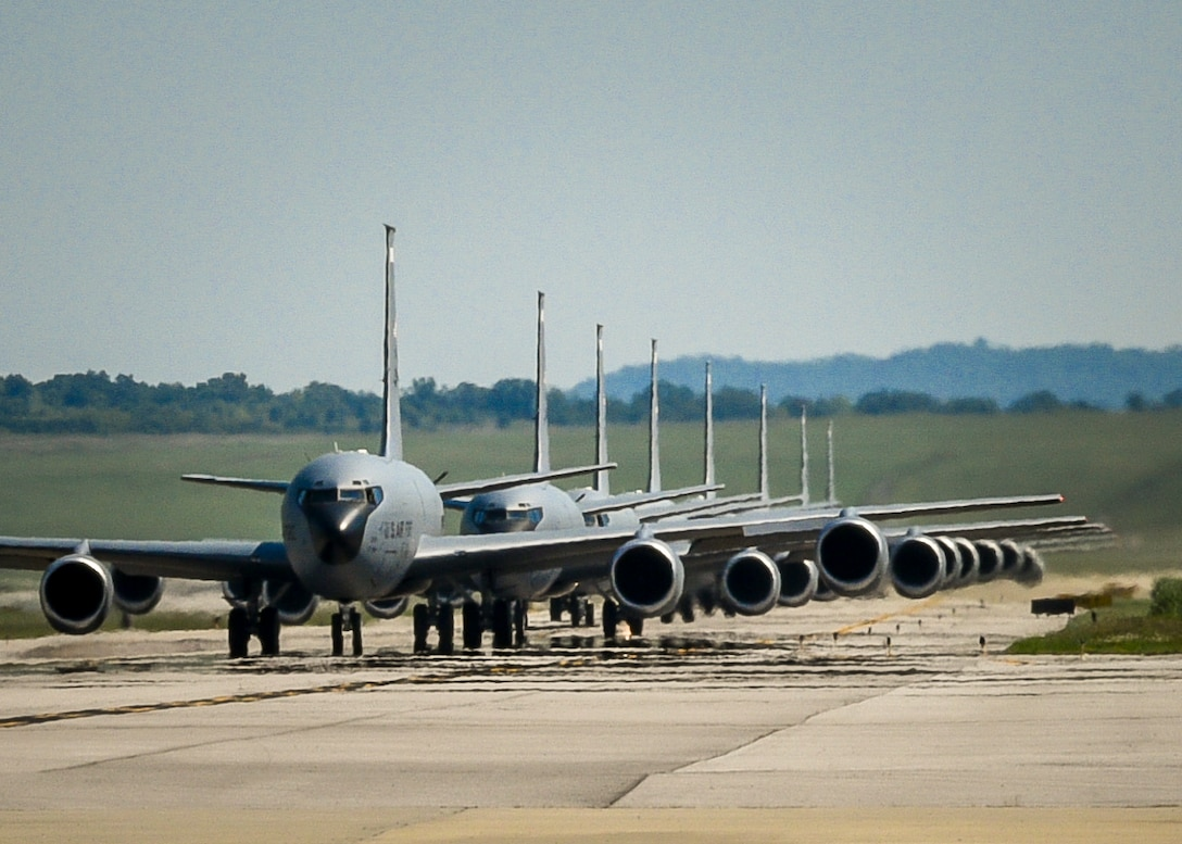 The 117th Air Refueling Wing makes history by launching 8 KC-135R Stratotankers.