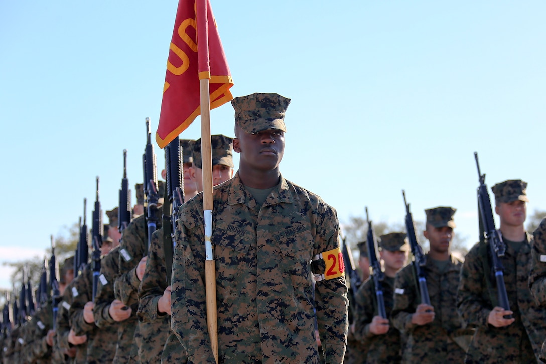A group of Marines stand in lines as they practice doing drills.