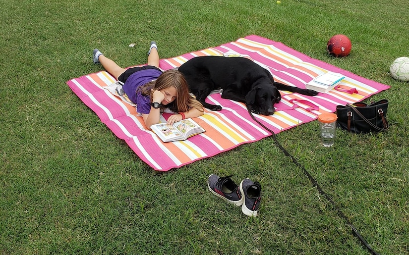 A black dog lays on a striped blanket with a young girl who is reading a book.