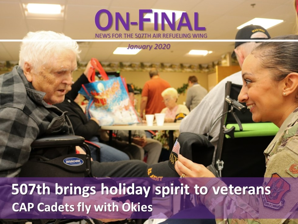 Members of the 507th Air Refueling Wing visited with veterans at the Norman Veteran's Center in Norman, Oklahoma, Dec. 20, 2019. (U.S. Air Force graphic by Senior Airman Mary Begy)