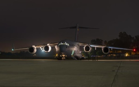Unloading U.S. Air Force C-17 Globemaster III
