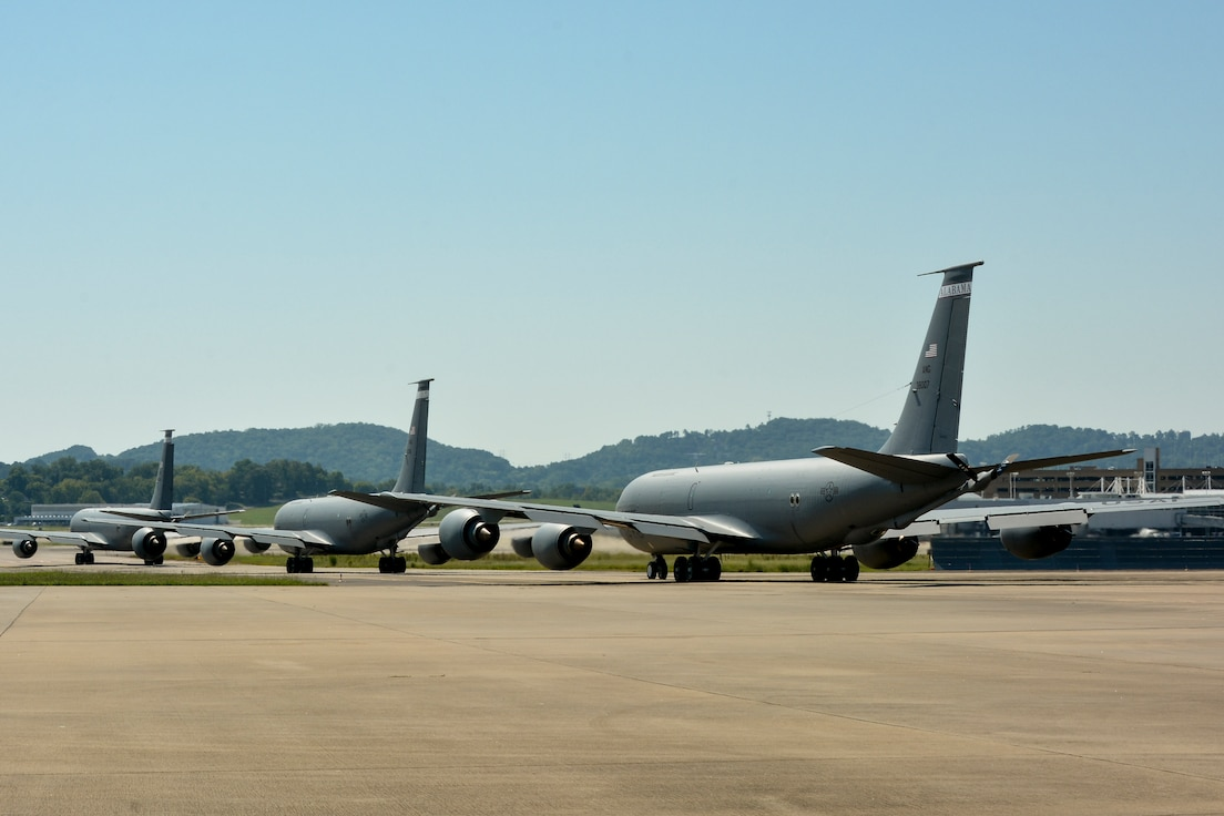 KC-135R Stratotankers taxi during a historic 8 ship launch.