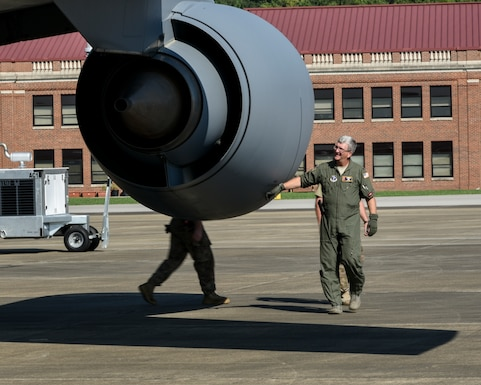 Col. Scott Grant, 117 ARW Commander performs a pre-flight check.