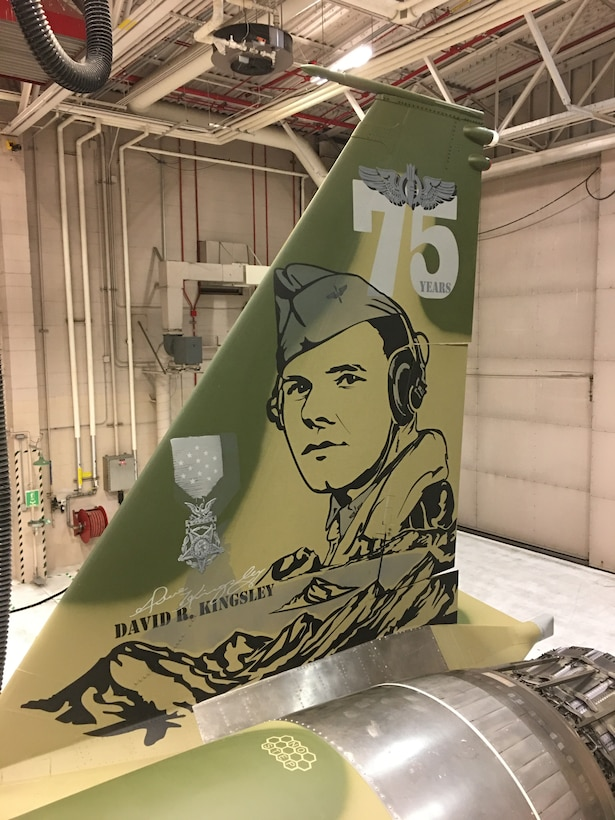 The vertical tail of an F-15 Eagle, assigned to the 173rd Fighter Wing, Oregon Air National Guard, bears an image of Lt. David R. Kingsley, who received the Medal of Honor for heroism during WWII, which cost him his life. This new flagship pays homage to the Oregon native and Kingsley Field's heritage. (U.S. Air National Guard photo by Master Sgt. Paul Allen)