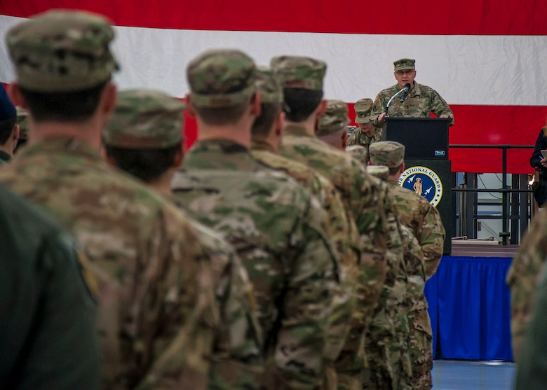 Maj. Gen. Francis Evon, The Adjutant General of the Connecticut National Guard, addresses Airmen assigned to the 103rd Airlift Wing during a Freedom Salute Ceremony at Bradley Air National Guard Base, East Granby, Conn. Jan. 4, 2020. During their four-month deployment, the 103rd Operations and Maintenance Groups were responsible for over 1,900 missions critical to military operations in their respective areas of operation. (Photo by Tim Koster, Connecticut National Guard Joint Force Headquarters Public Affairs)