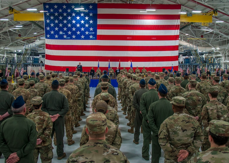 United States Senator Richard Blumenthal addresses Airmen assigned to the 103rd Airlift Wing's Operations and Maintenance Groups during a Freedom Salute Ceremony at Bradley Air National Guard Base, East Granby, Conn. Jan. 4, 2020. The ceremony served as the official welcoming home for members of the 103rd who recently completed a four-month deployment to Southwest Asia in support of Operations Freedom's Sentinel and Inherent Resolve. (Photo by Tim Koster, Connecticut National Guard Joint Force Headquarters Public Affairs)