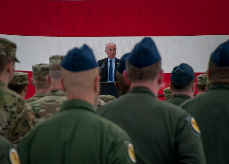 United States Representative from the Second Congressional District, Joe Courtney, addresses Airmen assigned to the 103rd Airlift Wing's Operations and Maintenance Groups during a Freedom Salute Ceremony at Bradley Air National Guard Base, East Granby, Conn. Jan. 4, 2020. The ceremony served as the official welcoming home for members of the 103rd who recently completed a four-month deployment to the Middle East in support of Operations Freedom's Sentinel and Inherent Resolve. (Photo by Tim Koster, Connecticut National Guard Joint Force Headquarters Public Affairs)