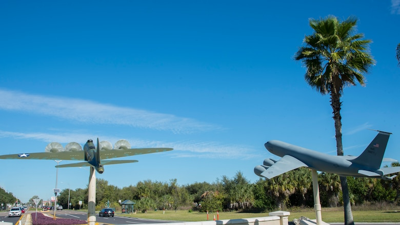Scale models of the Memphis Belle, a B-17 Flying Fortress, and a KC-135 Stratotanker are displayed near the front gate of MacDill Air Force, Fla. (U.S. Air Force photo by Airman 1st Class Shannon Bowman)