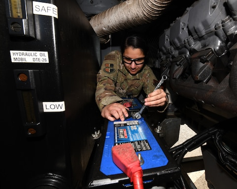 Senior Airman Sierra Garcia, 9th Maintenance Squadron aerospace ground equipment apprentice, tightens a nut on the battery of a TLD air conditioning unit, Jan. 7, 2020 at Beale Air Force Base, California. The 9th MXS AGE flight inspects, repairs, modifies, and delivers over 500 pieces of equipment worth around $23 million. (U.S. Air Force photo by Airman 1st Class Luis A. Ruiz-Vazquez)