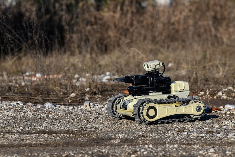 A Micro Tactical Ground Robot is used during a training exercise at Aviano Air Base, Italy, Jan. 8, 2020. The MTGR is a lightweight, tactical vehicle with high maneuverability that can be used in all terrains and both indoors and outdoors. It is also a handheld system that can be carried by an individual soldier. (U.S. Air Force photo by Airman 1st Class Ericka A. Woolever).
