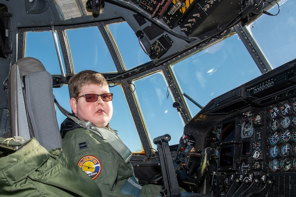"Capt. Tennison Hunter, call sign ""Wizard,"" 152nd Airlift Wing pilot, during his National Guard Pilot for a Day event. The 152nd Airlift Wing honored ""Wizard"" on Dec. 16, 2019."