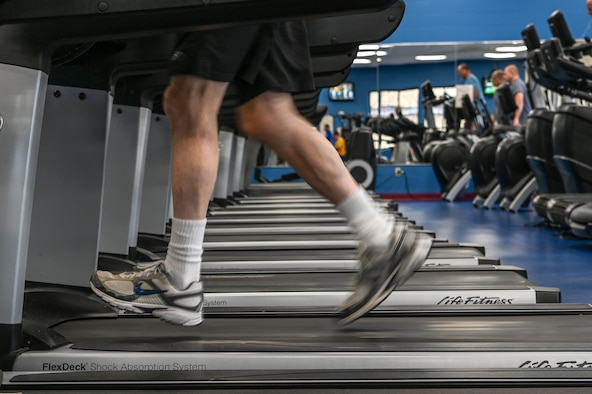Peter Connelly runs on a treadmill in the cardio room at the Hanscom Fitness and Sports Center Jan. 10. The facility is open Monday through Friday from 5 a.m. to 9 p.m. and weekends and holidays from 8 a.m. to 3 p.m. 24/7 access is available and requires registration. More information is available at www.hanscomfss.com/fitness-sports-center or at 781-225-6630.  (U.S. Air Force Photo by Mark Herlihy)