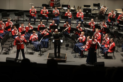 On Jan. 12, 2020, the Marine Band held its Sousa Season Opener (The American Offenbach, Sousa and the Operetta) at George Mason University's Center for the Arts. The concert included music from El Capitan and The Charlatan. (U.S. Marine Corps photo by Master Gunnery Sgt. Amanda Simmons/released)