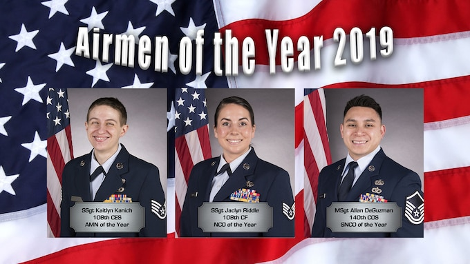 Congratulations to our Airmen of the Year for 2019. Left to right, Staff Sgt. Kaitlyn Kanich, 108th Civil Engineering Squadron, Staff Sgt. Jaclyn Riddle, 108th Communications Flight, and Master Sgt. Allan DeGuzman, 140th Cyberspace Operations Squadron.