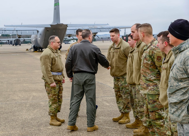 Healy spoke to several groups of Airmen throughout the visit, gaining insight into how the unit provides combat-ready Airmen, tactical airlift and agile combat support. (U.S. Air Force Reserve photo by Senior Airman Nathan Byrnes)